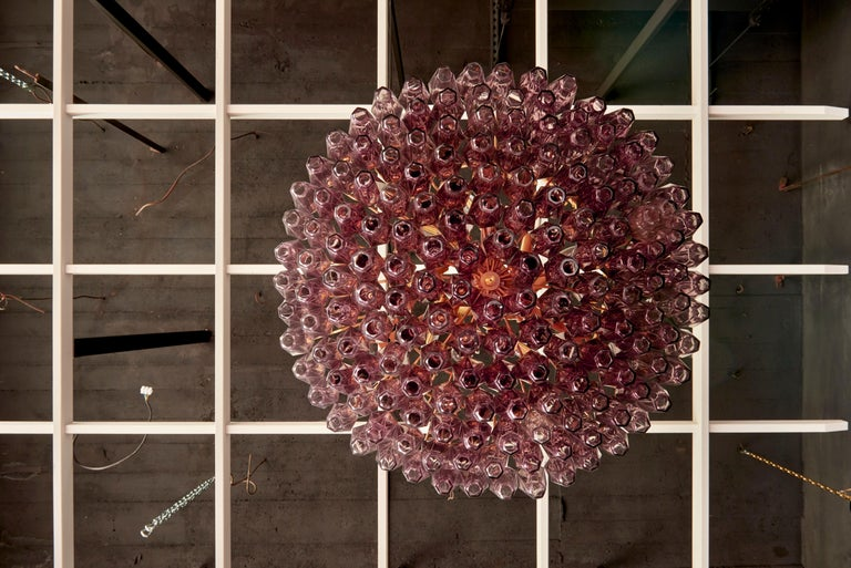 Italian One of Two Very Huge Amethyst Polyhedral Murano Glass Chandelier For Sale