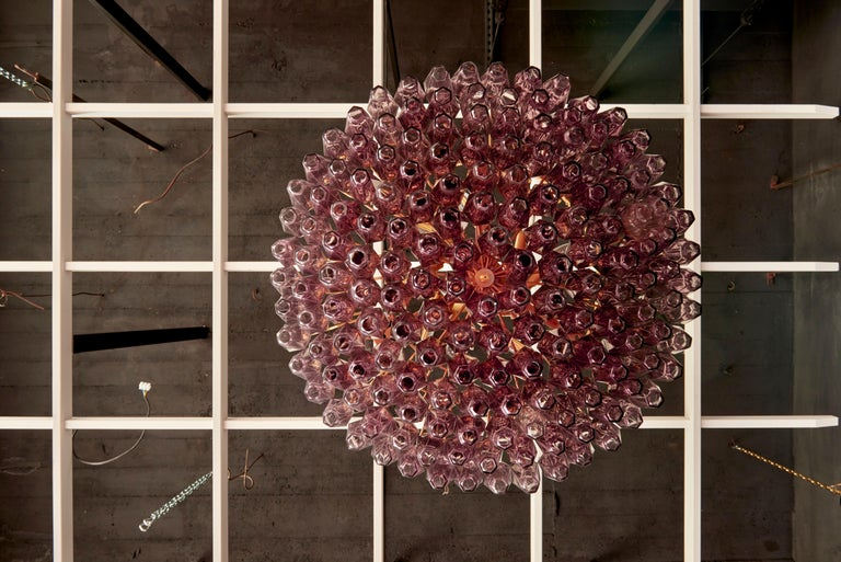 One of Two Very Huge Amethyst Polyhedral Murano Glass Chandelier In Excellent Condition For Sale In Berlin, DE