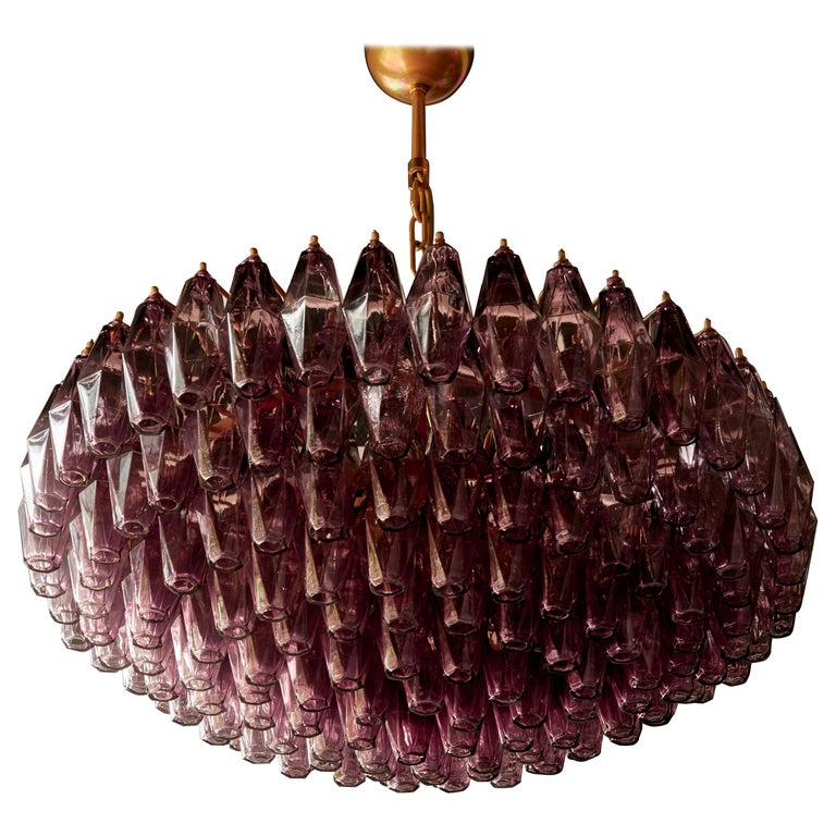 One of Two Very Huge Amethyst Polyhedral Murano Glass Chandelier For Sale