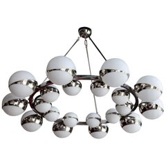 One of Two Very Huge Stilnovo Style Glass and Chrome Chandelier