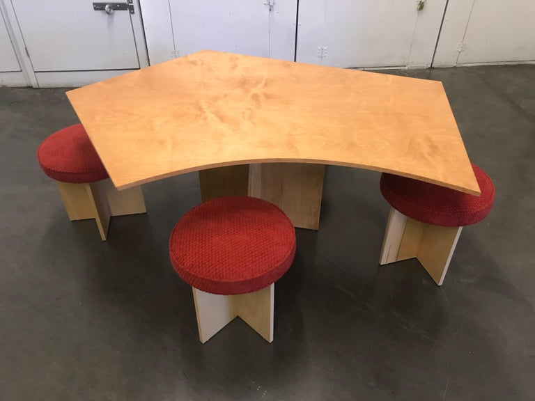 This is a one-off artist designed set. A simple and elegant plywood design. Natural birch veneer and textured upholstery. Great for a studio, office, gallery or Condo. It can function as a desk too. The stools are 18