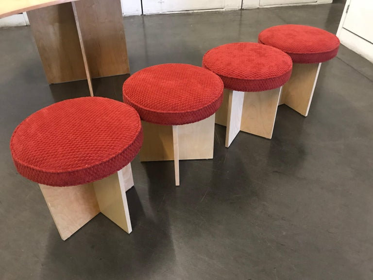 American Asymmetrical Top Table with Four Stools by Di Vincente For Sale