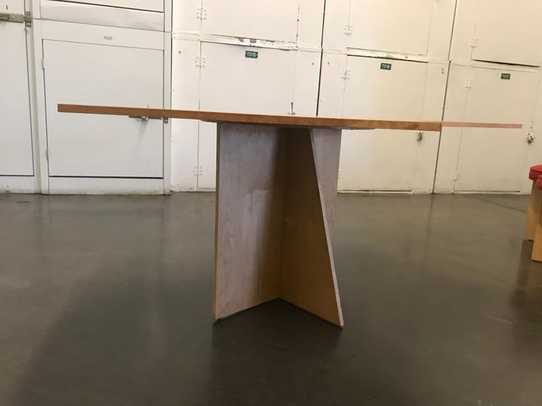 Wood Asymmetrical Top Table with Four Stools by Di Vincente For Sale