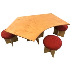 Chris Di Vincente One-Off Asymmetrical Top Table with Stools