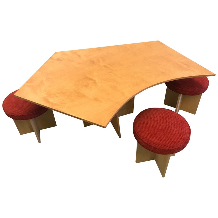 Asymmetrical Top Table with Four Stools by Di Vincente For Sale