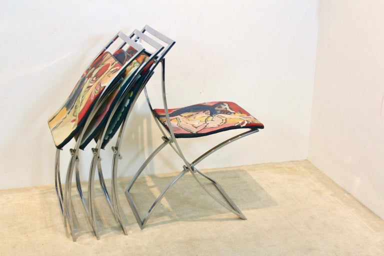 One off Hand Painted Set of Four 'Luisa' Dining Chairs by Marcello Cuneo For Sale 5