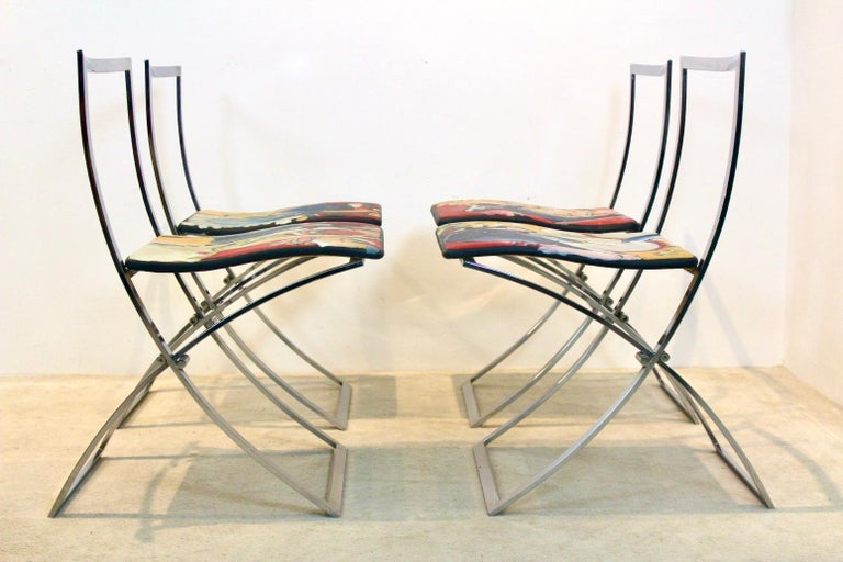 One off Hand Painted Set of Four 'Luisa' Dining Chairs by Marcello Cuneo For Sale 6