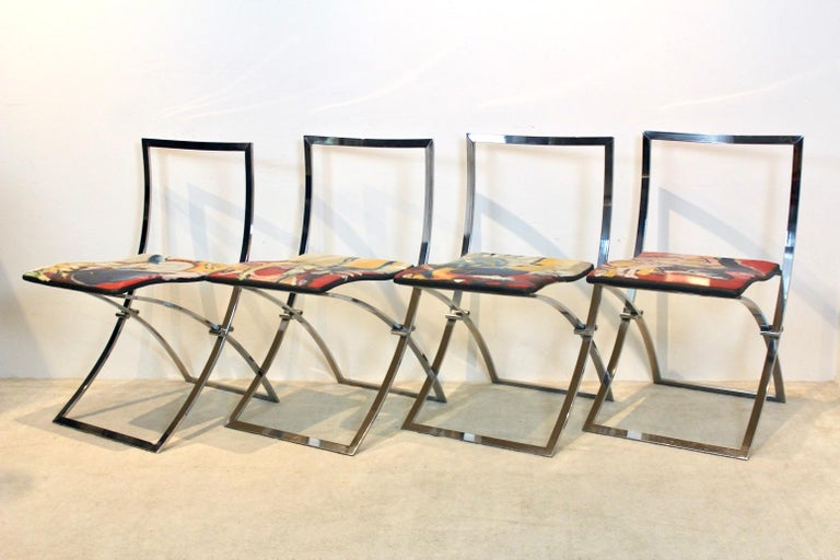 One off Hand Painted Set of Four 'Luisa' Dining Chairs by Marcello Cuneo For Sale 8