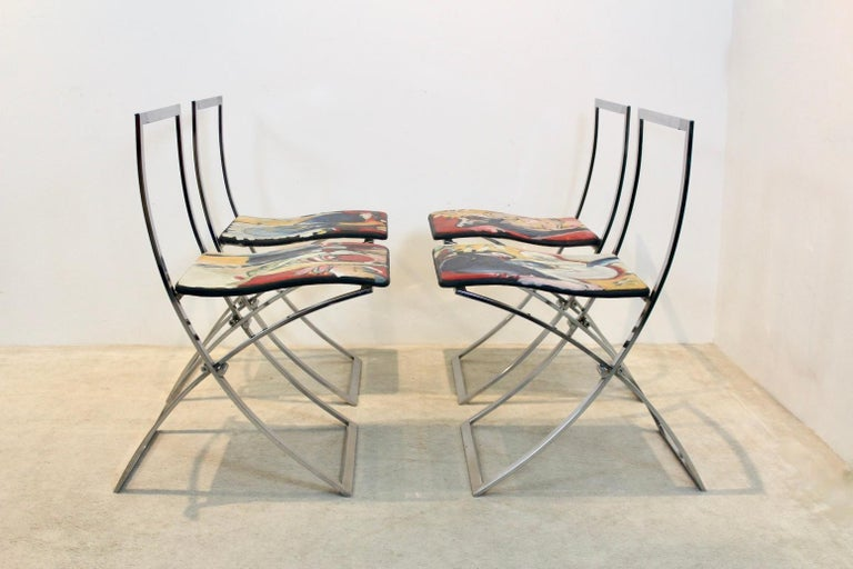 Mid-Century Modern One off Hand Painted Set of Four 'Luisa' Dining Chairs by Marcello Cuneo For Sale