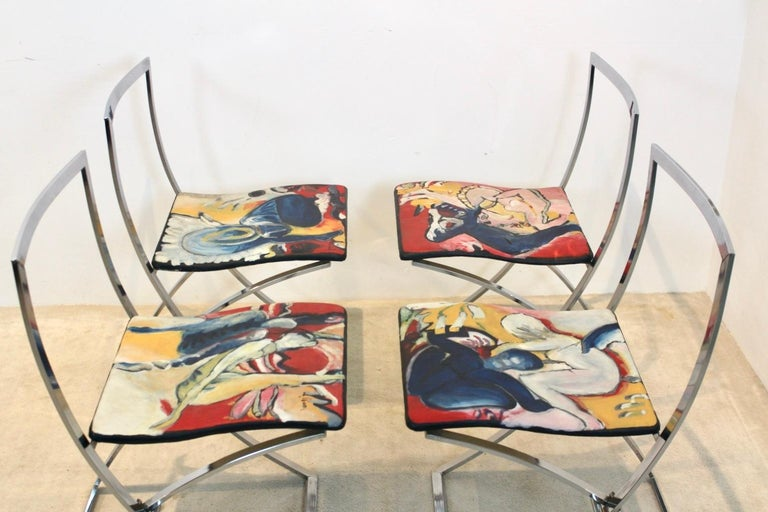 Italian One off Hand Painted Set of Four 'Luisa' Dining Chairs by Marcello Cuneo For Sale