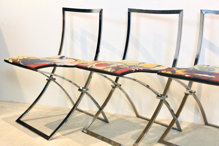 One off Hand Painted Set of Four 'Luisa' Dining Chairs by Marcello Cuneo In Good Condition For Sale In Voorburg, NL