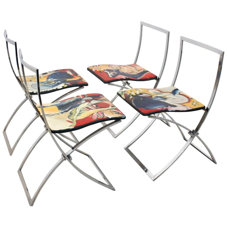 One off Hand Painted Set of Four 'Luisa' Dining Chairs by Marcello Cuneo For Sale