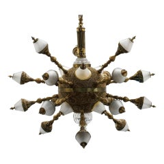 One Off Kind Brass and Glass Chandelier, 18 Sputnik Style Arms, 25 Lights Total