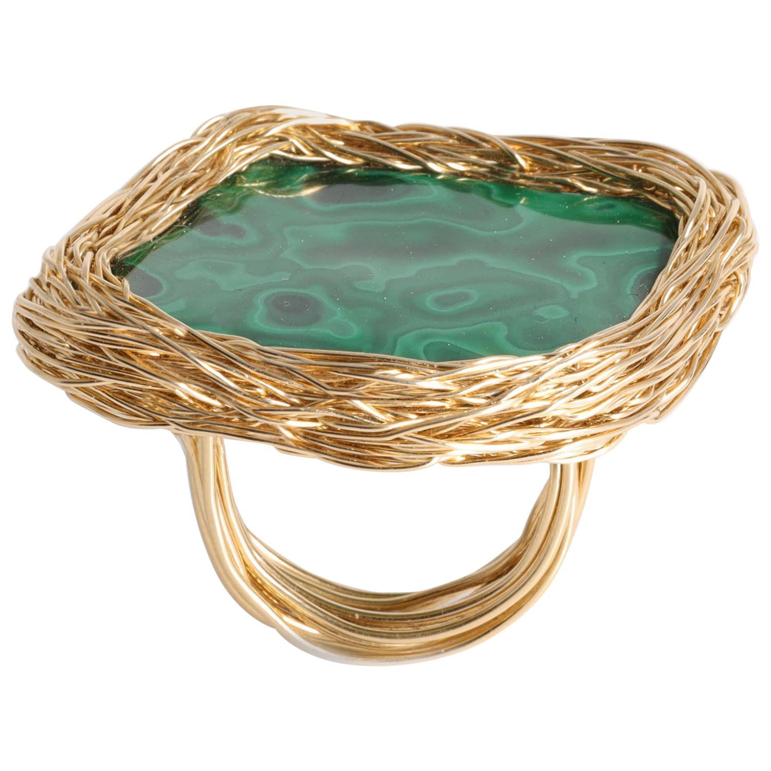 One-off Malachite 14 Kt Gold F. Cocktail & Statement Ring by the Artist Herself