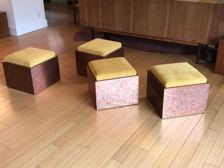 Modern Architectural Cube Ottomans by Di Vincente For Sale