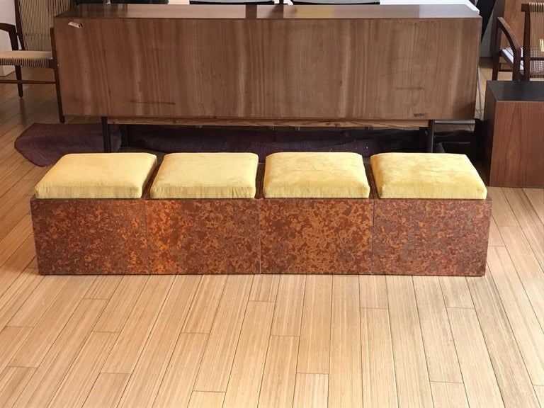 Woodwork Architectural Cube Ottomans by Di Vincente For Sale