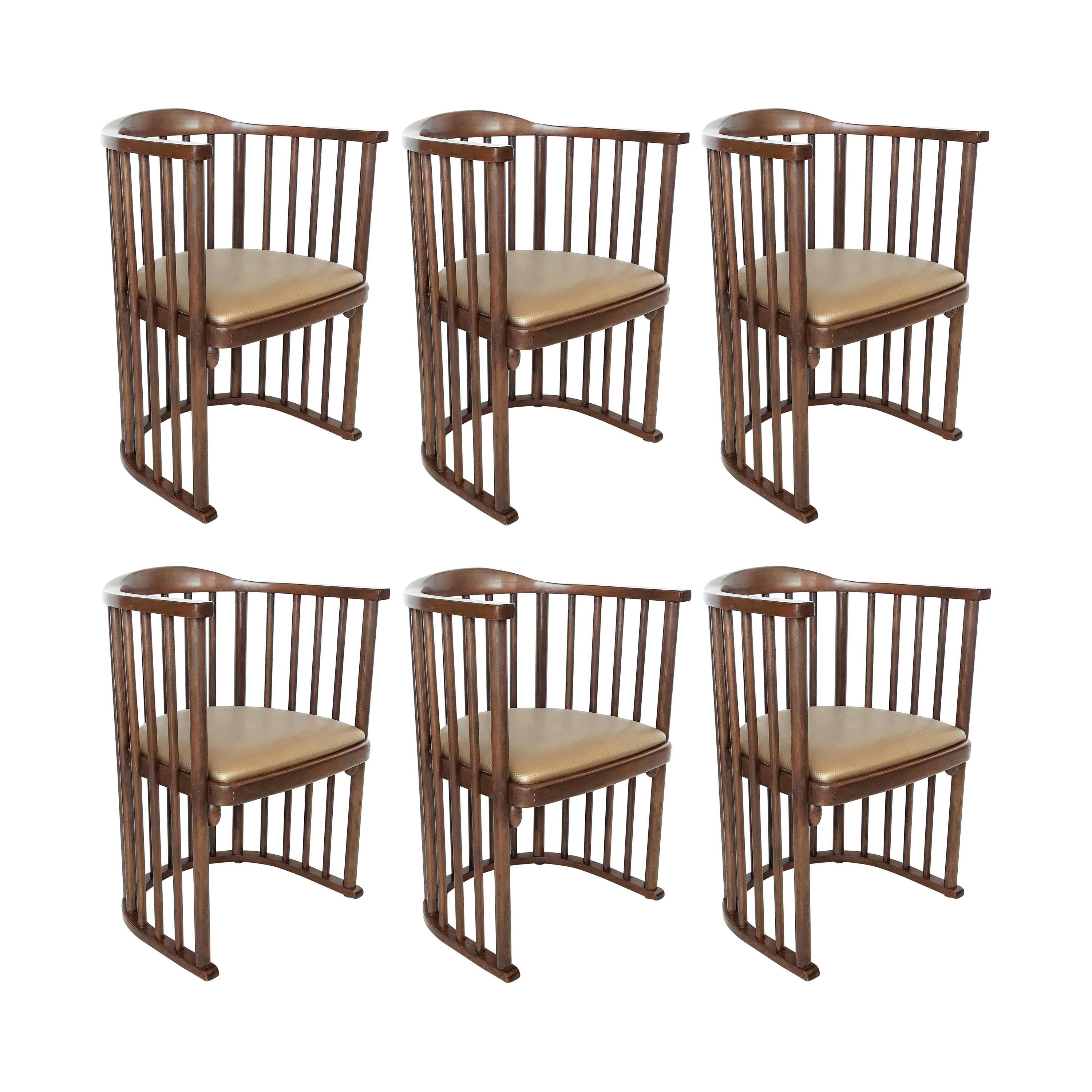 One or Six Armchairs Designed by Josef Hoffmann