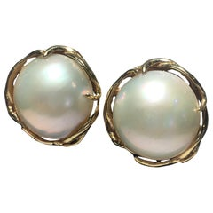 One Pair 14 Karat And Mobe Pearl Pierced Earings.  Great Scale And Form.