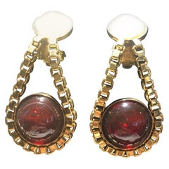 One Pair Chanel Drop Earings With Red Stone