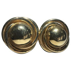 One Pair Of 14Karat Gold Pierced Knot Earings.  Great Form And Scale.