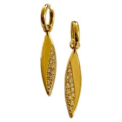 One Pair of 18 Karat Yellow Gold Earrings, Set with Diamonds, Germany, 1970