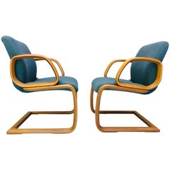 One Pair of 1980s Bent Wood Laminate Armchairs
