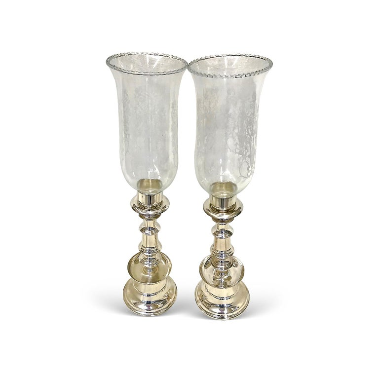 Anglo-Indian One Pair of .900 Silver Candleholders with Beautiful Hand Design and Glass Cover For Sale