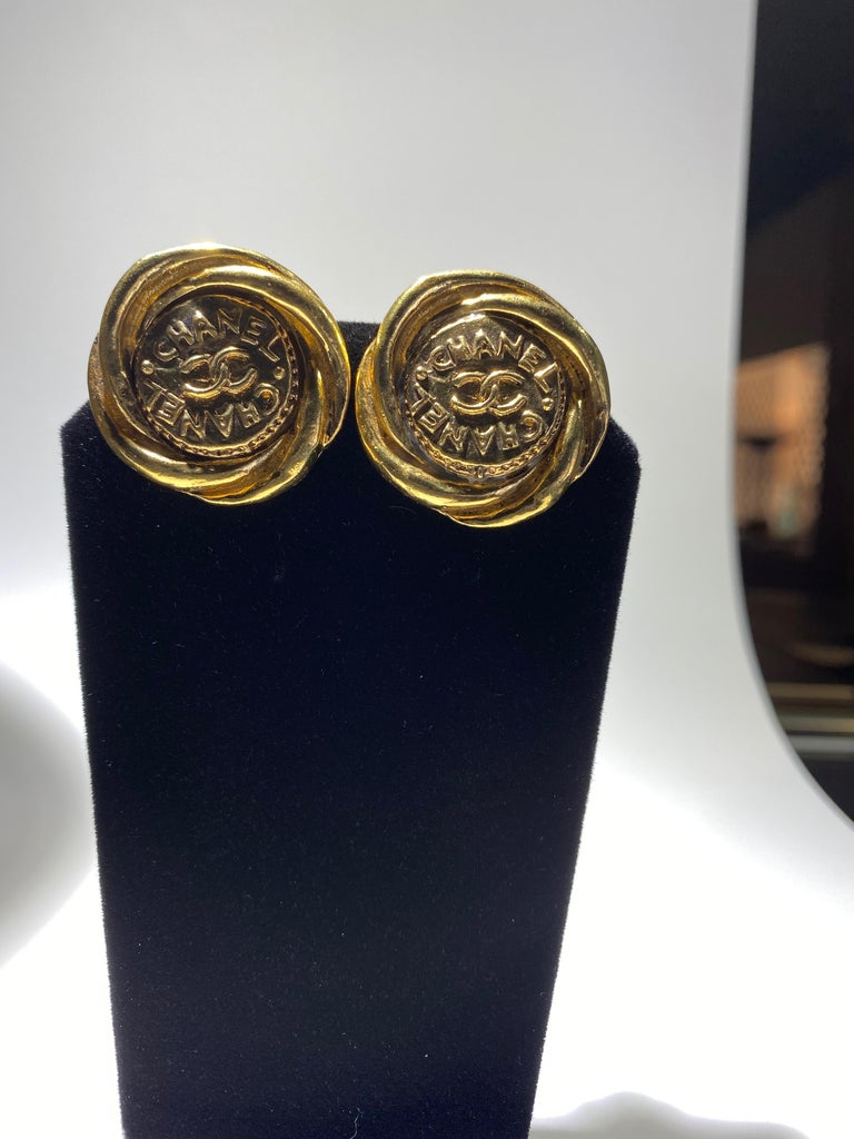 Classical Greek One Pair Of Chanel Button Earrings, Great Bold Scale. For Sale