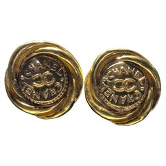One Pair Of Chanel Button Earrings, Great Bold Scale.