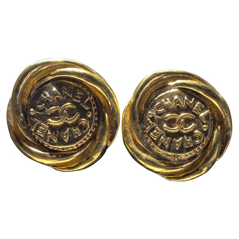 One Pair Of Chanel Button Earrings, Great Bold Scale. For Sale