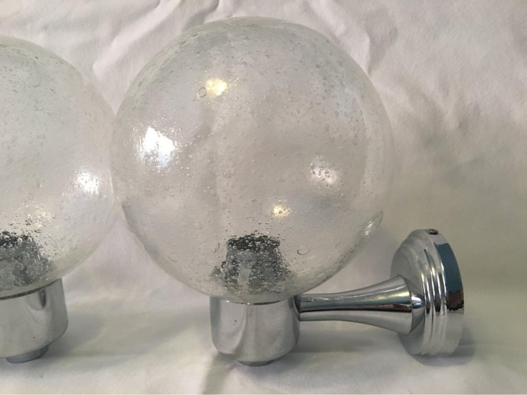 German One Pair of Chrome and Air Bubble Glass Ball Sconces For Sale