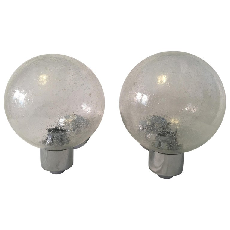 One Pair of Chrome and Air Bubble Glass Ball Sconces For Sale