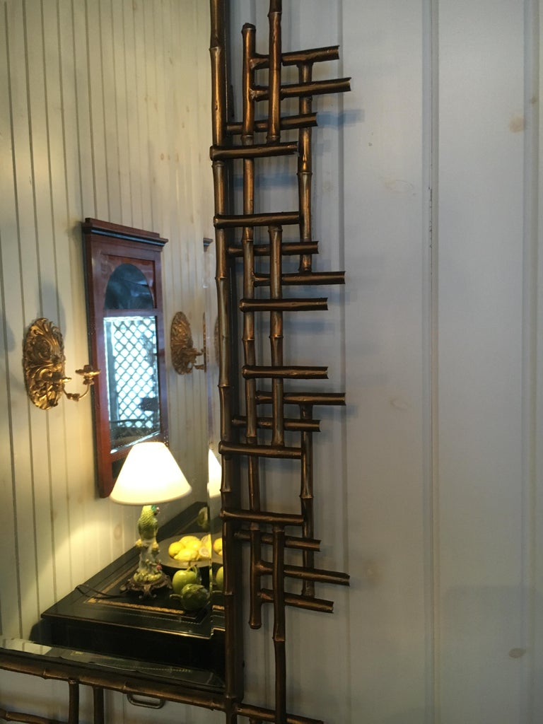One pair of gilt metal Brutalist mirrors. Great usable scale. Priced per mirror. Great condition.