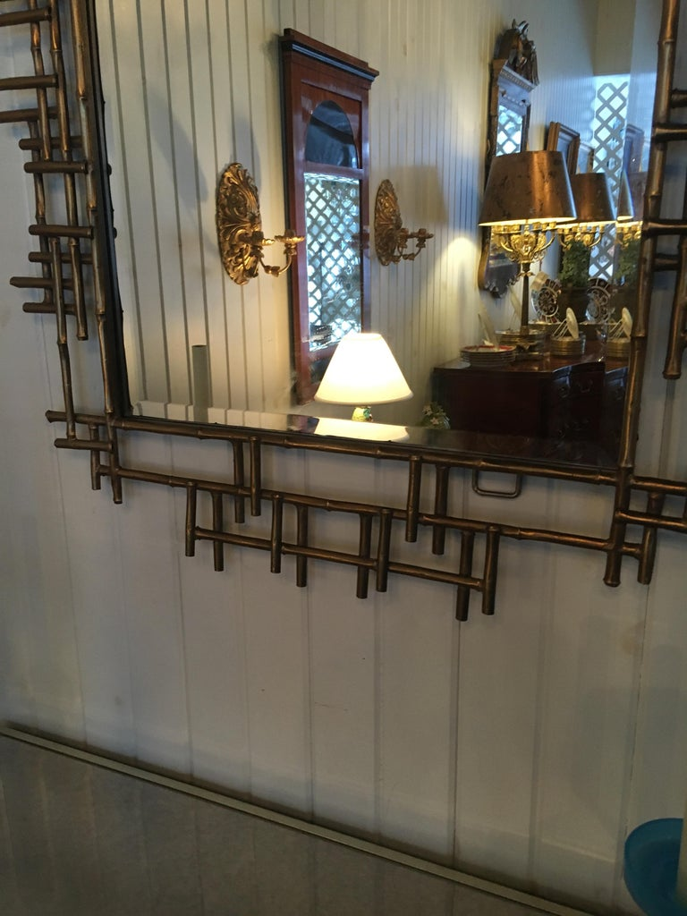 One Pair of Gilt Metal Brutalist Mirrors, Great Usable Scale, Priced Per Mirror In Excellent Condition For Sale In Buchanan, MI