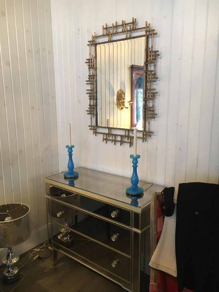 20th Century One Pair of Gilt Metal Brutalist Mirrors, Great Usable Scale, Priced Per Mirror For Sale