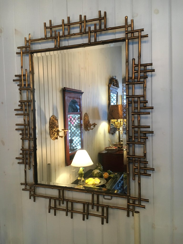 One Pair of Gilt Metal Brutalist Mirrors, Great Usable Scale, Priced Per Mirror For Sale 1
