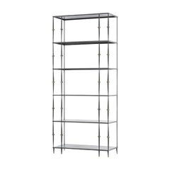One Pair of Iron and Bronze Five Shelve Bookcases in the Style of Giacometti
