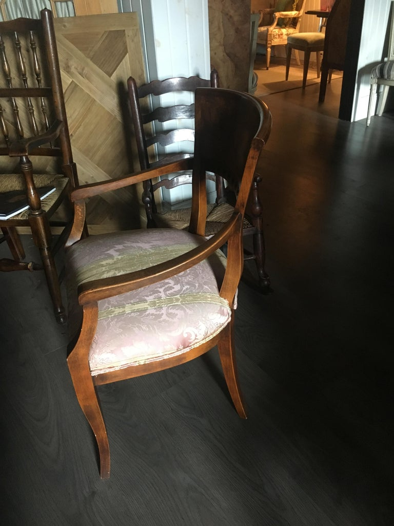 One Pair of Italian Neoclassical Style Armchairs, Great Color and Patination In Good Condition For Sale In Buchanan, MI
