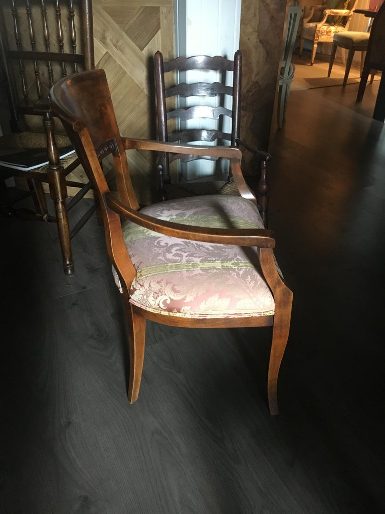 Walnut One Pair of Italian Neoclassical Style Armchairs, Great Color and Patination For Sale