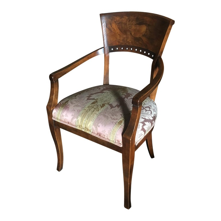One Pair of Italian Neoclassical Style Armchairs, Great Color and Patination For Sale
