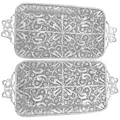 One Pair of Pure Filigree Silver Tray with Goat Handles