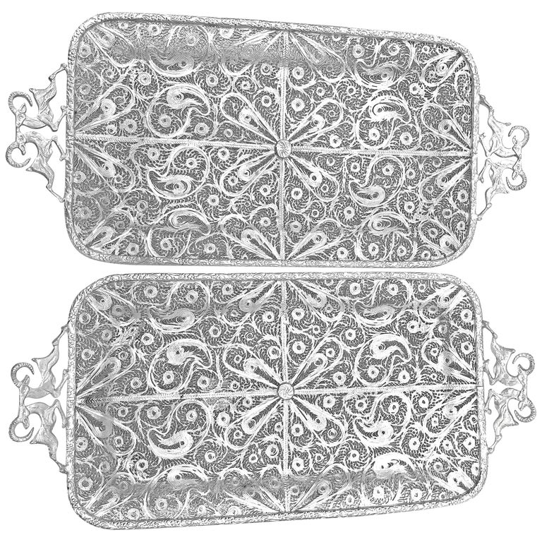 One Pair of Pure Filigree Silver Tray with Goat Handles For Sale