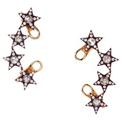 One Pair of Star Earcuffs Set with Diamonds in Titanium and 18 Karat Gold
