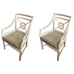 One Pair of Target Back Dining Chairs by McGuire, Excellent Condition