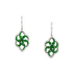 One Pair of Tsavorite, Jade and Diamond Earrings