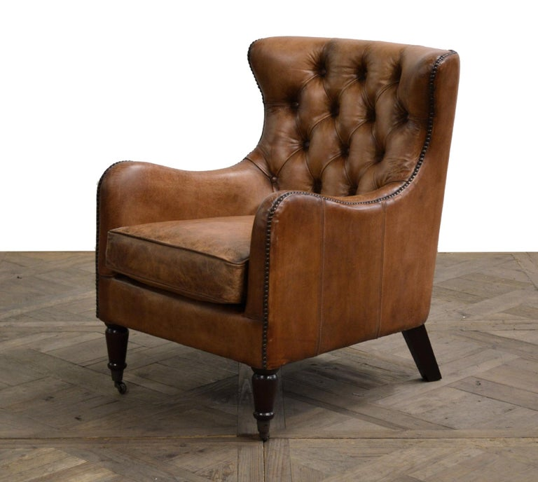 One Pair of Two-Seat Chesterfield Sofa's, Great Scale for Comfort, Great Patina For Sale 9
