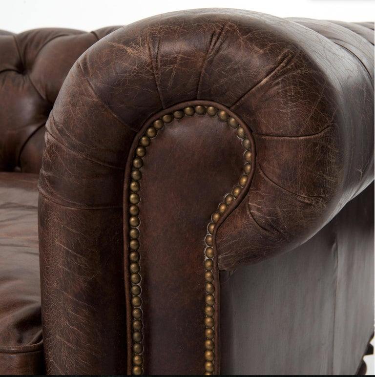 Leather One Pair of Two-Seat Chesterfield Sofa's, Great Scale for Comfort, Great Patina For Sale