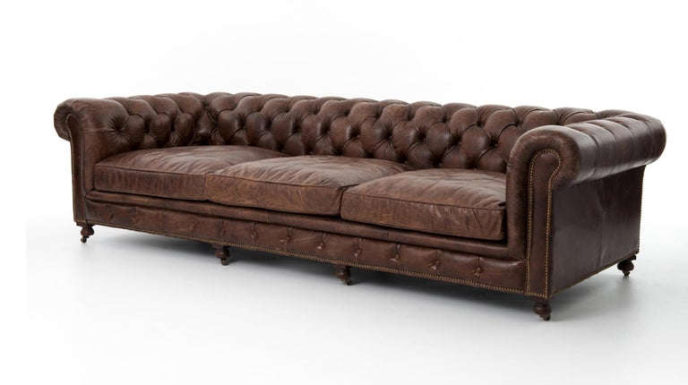 One Pair of Two-Seat Chesterfield Sofa's, Great Scale for Comfort, Great Patina For Sale 3