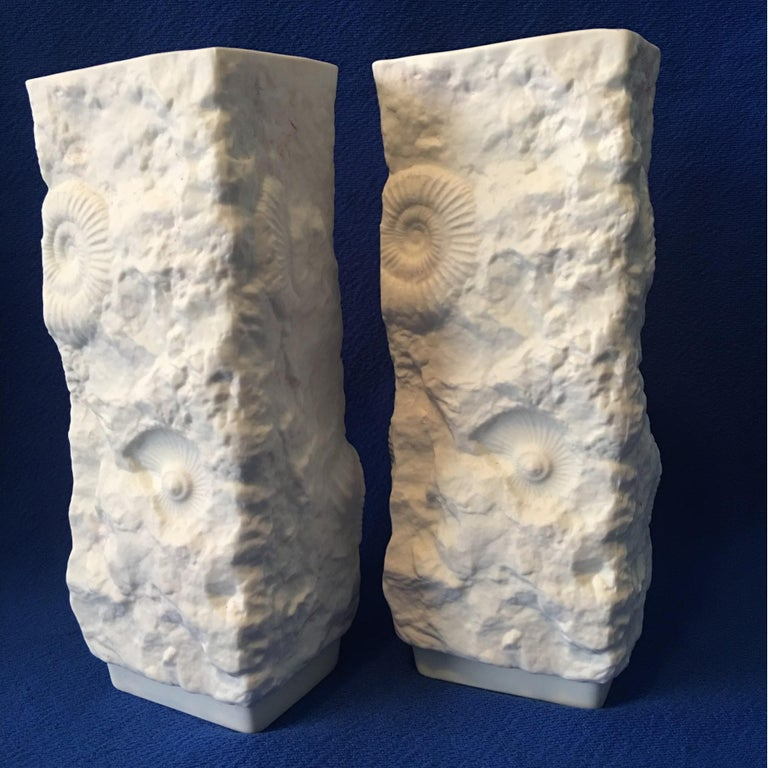 A beautiful pair of white fossil rock Matte Vases from the German Porcelain manufacturer Kaiser. Lovely pieces for any room and decor.