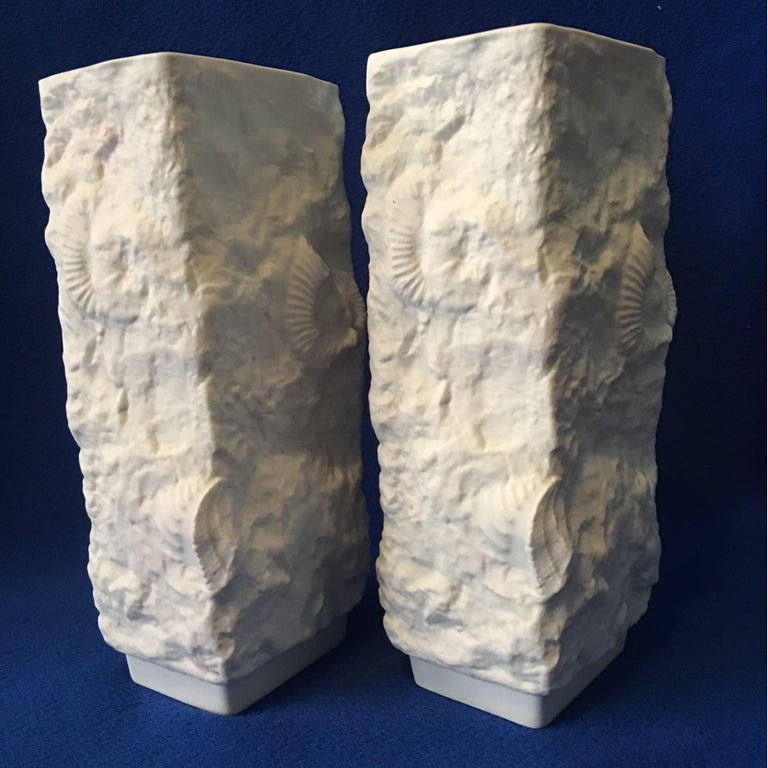 Late 20th Century One Pair of  White Fossil Rock Matte Vases by Kaiser of Germany For Sale